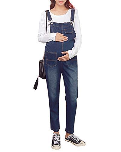 Shaoyao Schwangere Jeans Latzhose Damen Jumpsuit Frauen Vintage Denim Playsuit Blau 2XL