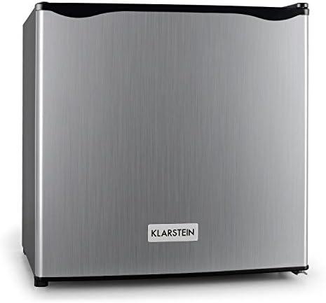 KLARSTEIN Garfield - Minicongelador de 4 Estrellas, Cubitos de Hielo, Acero, 35 litros de Capacidad, 2 Pisos, De -18 a -24 °C, 65 W, Puerta a la Derecha, Totalmente vacío, Plateado