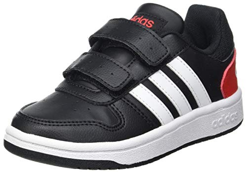 adidas Hoops 2.0 CMF C Sneaker, Core Black/Cloud White/Vivid Red, 35 EU