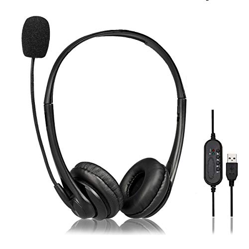 Auriculares de PC, Auriculares USB con micrófono, Auriculares con Cable para Videojuegos Skype Chat Auriculares de Oficina con cancelación de Ruido para Ordenador portátil, Tableta