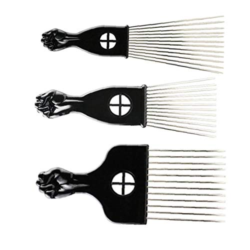 3 Pc African Hair Selecciones Puño Recogida Metal De Punta Afro Peines De Peluquería Cepillo De Modelado Del De Herramienta