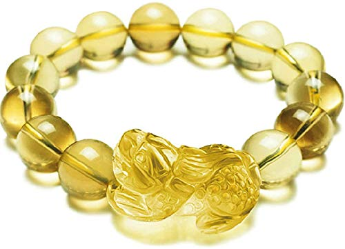 FLYAND Círculo Simple Exquisito Pixiu/Piyao Natural Citrine Feng Shui Pulsera Amarillo Perlas Amarillo Amuleto Atraer Money Love Hombre/Mujer, 10mm (Talla : 8mm)