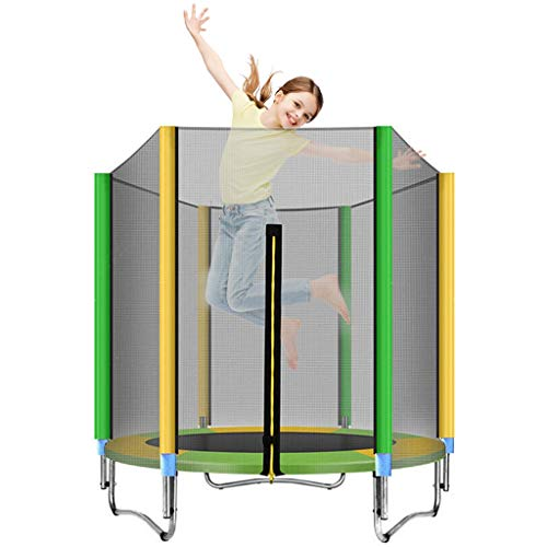 Trampoline with Safety Enclosure Net, 12 FT Round Bounce Jumper for Indoor/Outdoor, Built-in Zipper Heavy Duty Frame, Kids Basketball Hoop Trampoline for Great Gift (12 FT)