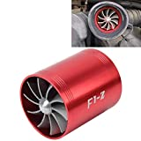 POJAP Turbina protector de F1-Z de coches inoxidable universal Supercharger doble dual de la turbina de admisión de aire kit de ahorro de combustible Turbo Turboing cargador Fan Set (Color : Rojo)