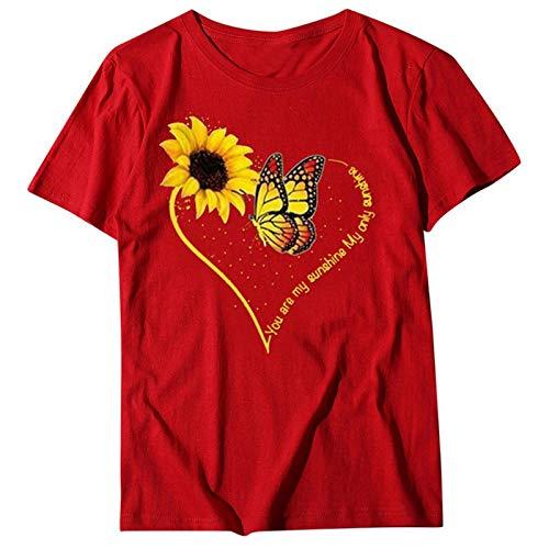 GAOwi Camiseta/Chaleco Top Forma de Amor Forma de corazón Forma de corazón Imprimir Flojo de Manga Corta O-Cuello Casual Camisa de Las señoras,Rojo,XL