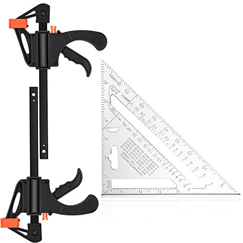 2 Pieces 6 Inch F Shape Quick Bar Clamps One Hand Steel Bar Clamps Trigger Spreader Set with 7 Inch Square Triangular Rule Aluminum Alloy Triangle Ruler for Carpenter Woodworking