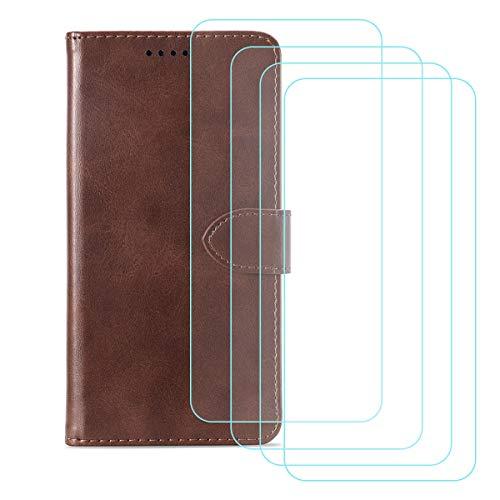 DQG Funda para Alcatel 3X 2020 (6.52'), [4 Tabletas Protector de Pantalla Vidrio Templado] + Leather Carcasa Tapa Bumper PU Caso Soporte Cartera Case Flip Cuero Wallet Cover para - Brown