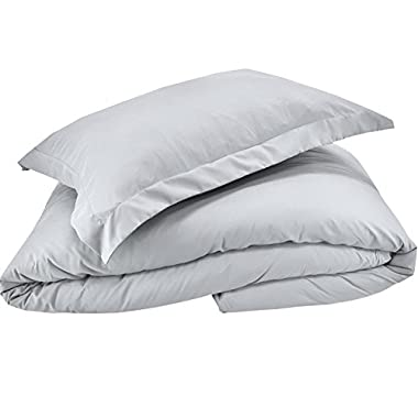 Whitecottonworld Hotel Luxury Egyptian Cotton 800 Thread Count Zipper Closer 1-Pieces Duvet Cover with Corner Ties, Oversized King (98 x 120 Inch) Size, Soft, Hypoallergenic, Silver Grey Solid