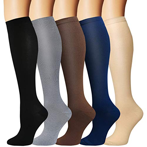 5 Pairs Knee High Graduated Compression Socks For Women and Men - Best Medical, Nursing, Travel & Flight Socks - Running & Fitness - 15-20mmHg (L/XL, Assorted 2)