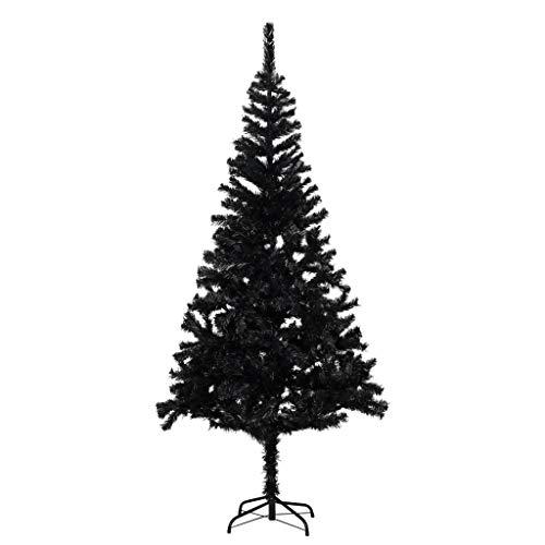 vidaXL Albero di Natale con Supporto Decorazione Natalizia Addobbi Feste Abete Pino Sintetico Festoni Ornamenti Pianta Artificiale Nero 180 cm PVC