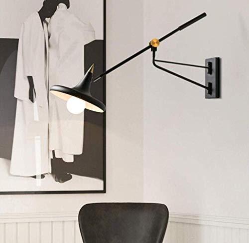 Mkjbd wandlamp tuinlamp wandlamp creatieve instelbare vintage wandlamp industriële lange wip telescoop zwart