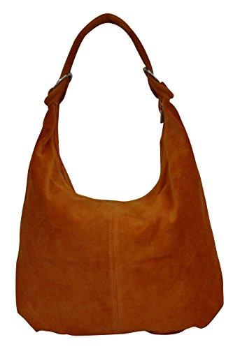 AMBRA Moda Damen Wildleder Schultertasch Damen Handtasche Hobo-Bags Shopper Beuteltaschen Veloursleder Suede Ledertasche DIN-A4 42cm x 35cmx 4cm WL803, Cognac, XXL