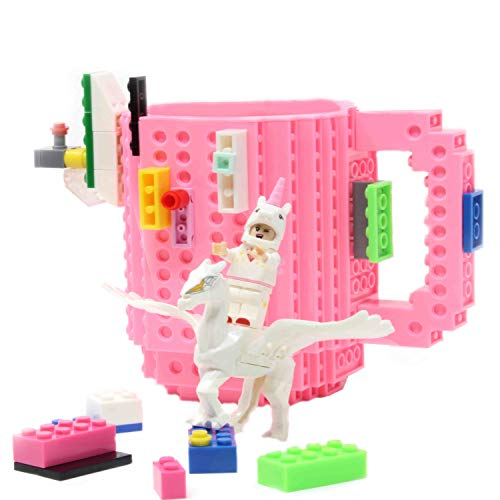 Unicorn Build-on Brick Mug w/ 5 Packs of Building Blocks,Compatible with Lego,16 Oz Novelty DIY Unique Funny Coffee Cup Gift by F-32 Signature Collection (Pink)