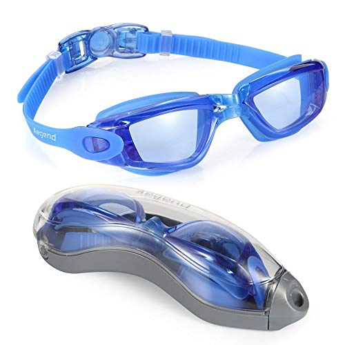 Swim Goggles, Aegend Adult Clear Swimming Goggles No Leaking Anti Fog UV Protection Triathlon Swim Goggles with Free Protection Case for Men Women Youth, Blue