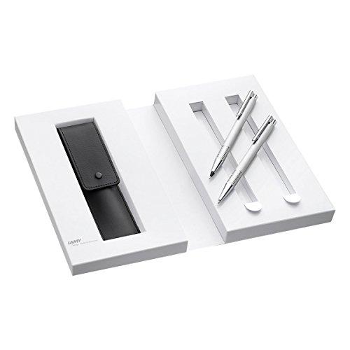 Lamy 1230490 Set Druckkugelschreiber und Druckbleistift mit Lederetui in Geschenkverpackung M 206/106 brushed, silber