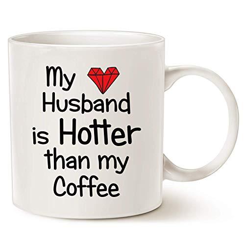 N\A Taza de café con Cita Divertida para Esposo, mi Esposo es más Caliente Que mi café, Amor, corazón Rojo, día de San Valentín, Taza Blanca, 11 oz