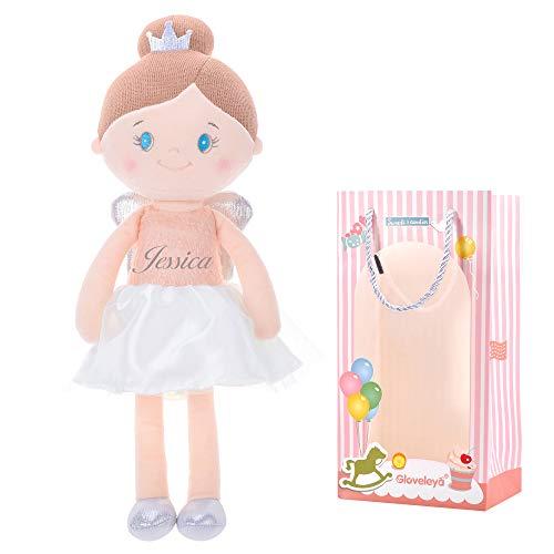 Gloveleya Customized Baby Puppe Rag Spielzeug für Mädchen Geschenke Puppen für 1 2 3 Jahre alt 42CM rosa