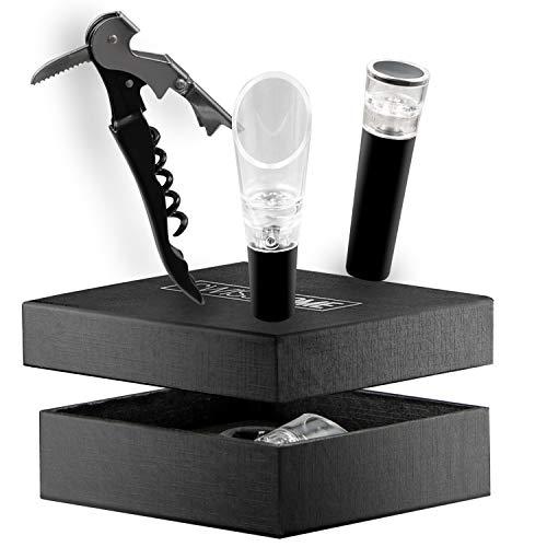 SWISSHOME Set da sommelier   3 pezzi   Aeratore, tappo sottovuoto e apribottiglie) in acciaio inox in confezione regalo premium