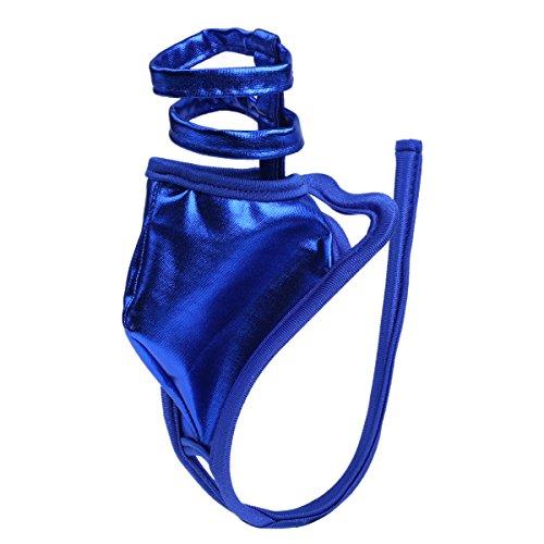 Agoky Herren sexy G-String C-String Wetlook Reizwäsche offener Schritt Männer Bikinislip Badehose mit Penisringe Erotik reizvoll Unterhosen Gay sexy Underwear Blau Einheitgröße