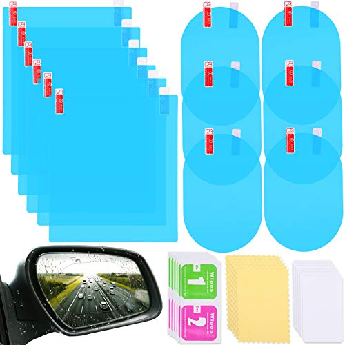 12 Pieces Car Rearview Mirror Film Rainproof Waterproof Mirror Film Anti Fog Nano Coating Car Film for Car Mirrors and Side Windows