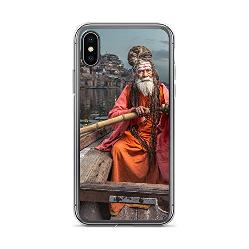 Cover India compatibile con iPhone 5 / 5S alta Priester Ganges Cover Bumper trasparente intorno alla protezione Cartoon M11