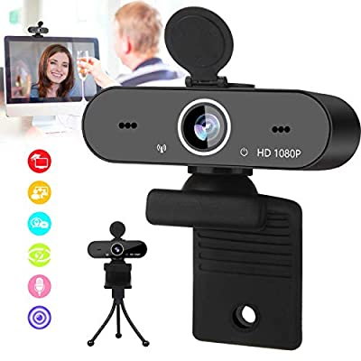 Burxoe Webcam with Microphone, 1080P Hd Streaming Web Camera for Computer Desktop Laptop, USB Pc Camera 110 Degree Wide Angle with Mic Privacy Cover Tripod for Conference, Video Calling, Study