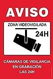 akrocard - Cartel Resistente PVC - ZONA VIDEOVIGILADA 24H(rojo) - Señaletica de aviso - señal disuasorio Ideal para Colgar y Advertir (5)