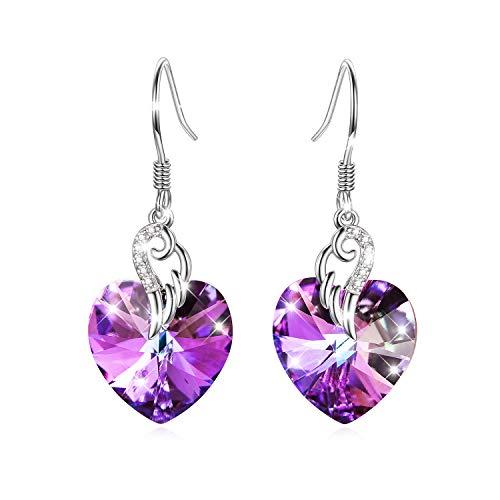 Engelsflügel Ohrringe Damen Sterling Silber Liebes Herz Haken Ohrringe mit Lila Swarovski-Kristallen