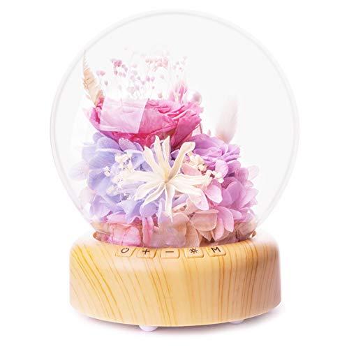 GE&YOBBY Preserved Bloem Met Glas Cover,Droge Bloem In Glas Koepel Met Led Streamer Verse Bloem Fles Usb Lamp Gift Voor Haar In Moederdag, Verjaardag Datum