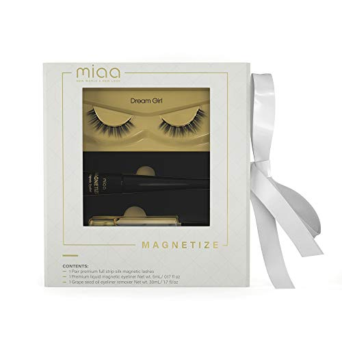 MIAA Beauty Magnetic False Eyelash Kit - False Reusable Magnetic Full Lashes with Makeup Oil Remover - Glue-Free Magnetic False Lash Extensions with Magnetic Eyeliner – Easy Application & Removal