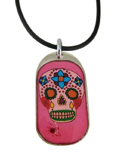 Zeckos Pink Day of The Dead Totenkopf Anhänger/Gummi Halskette
