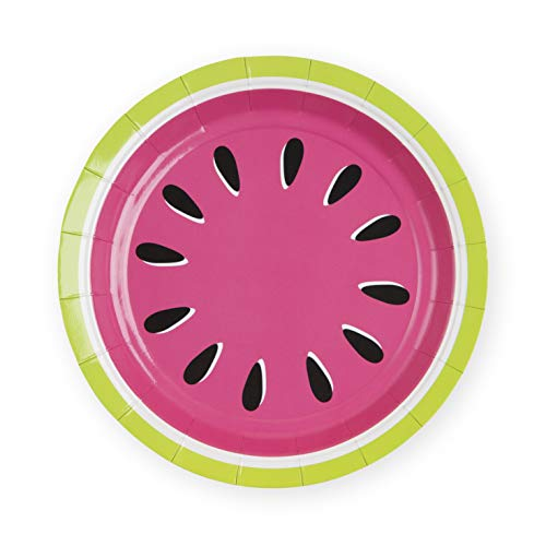 Cakewalk Watermelon Appetizer, Paper Disposable Plates, One Size, Multicolor