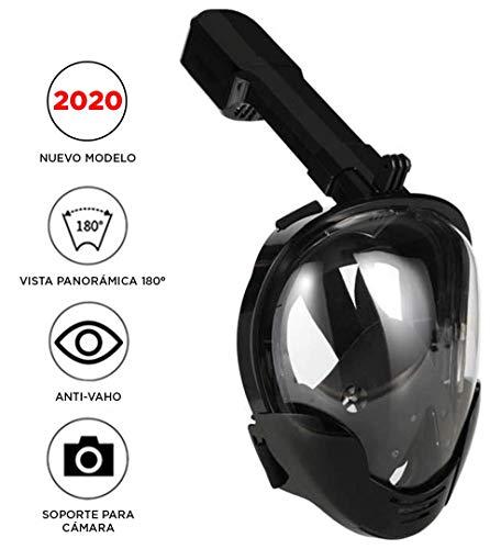 Máscara de Buceo o Snorkel con visión panorámica 180°, con antivaho y Soporte para cámara