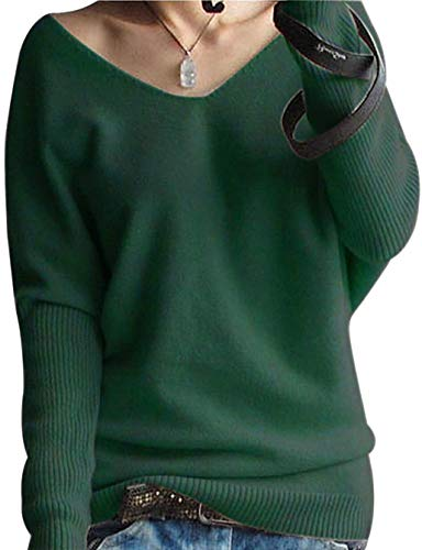 LONGMING Women's Fashion Big V-Neck Pullover Loose Sexy Batwing Sleeve Wool Cashmere Sweater Winter Tops(Green, M)