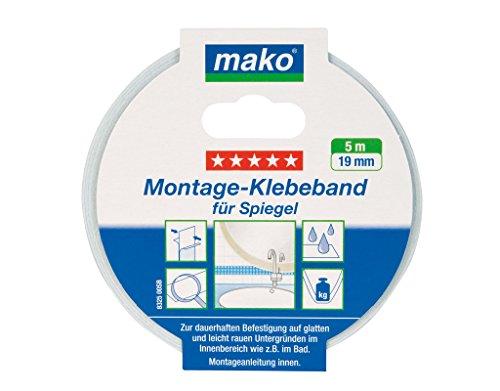 Mako Doppelseitiges Montage Klebeband für Spiegel 19 mm x 5 m