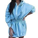 Sudadera Larga para Mujeres con Capucha Tallas Grandes para Casual Invierno Vestidos Sudadera con Bolsillo Grande Hoodie (Azul, S)