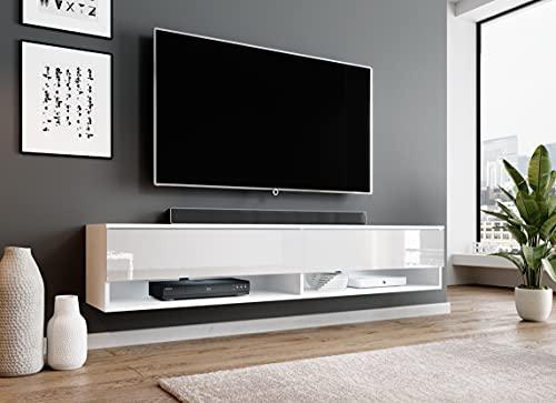 Furnix Alyx Meuble TV bas avec 2 étagères ouvertes 180 x 34 x 32 cm (l x h x p)