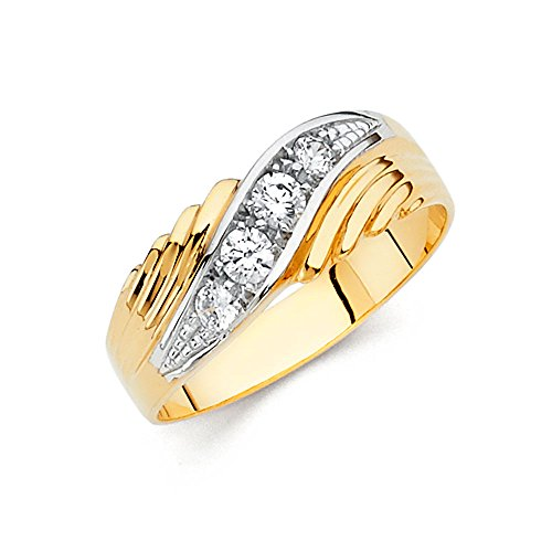 14k Two Tone Gold Solid Men's Wedding Band - Size 9.5
