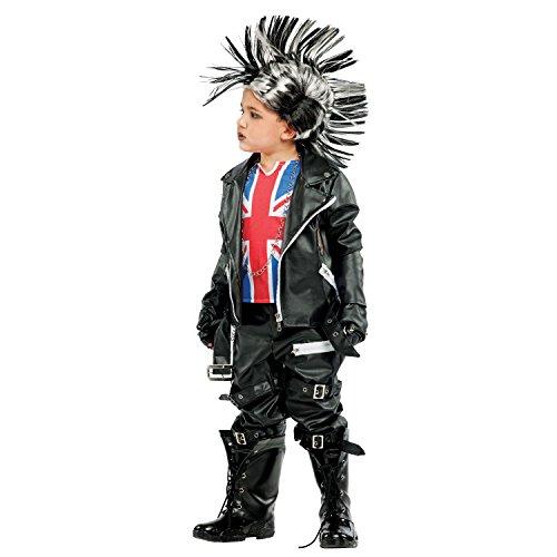 Krause & Sohn Kinderkostüm Punk Rebell Kid Deluxe viel Zubehör schwarz Punker Union Jack Großbritannien Irokese Biker Fasching Karneval (128)