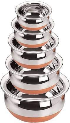 LiMETRO STEEL Juego Handi de acero inoxidable con base de cobre compatible con gas (5 piezas, 0.5 LTR, 0.75 LTR, 1 LTR, 1.5 LTR, 2 LTR) de acero para utensilios de cocina Handi