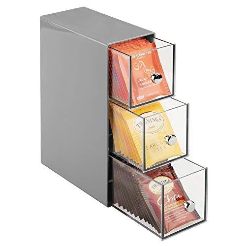mDesign Küchen Organizer mit 3 Schubladen - Aufbewahrungsbox für Teebeutel, Kaffeepads, Süßungsmittel und mehr - Teekiste aus Kunststoff - grau