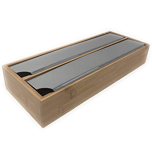 Space Home - Dispensador con Cuchilla de Papel de Aluminio, Film - Portarrollo para Papel de Aluminio - Dispensador 2en1 - Bambú