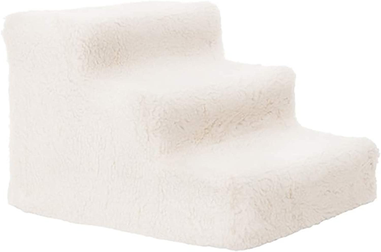 Pet Stairs Stairs & Steps Lightweight Upholstered Paded, 3Step Ramp Ladder Washable Removeable Cover (color   Offwhite)