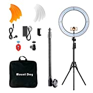 """MOUNTDOG 18"""" Ring Light Kit 55W Bluetooth LED Ringlight Lighting with Tripod Stand Dimmable 3200K/5500K YouTube Circle Lighting Ringlights for Makeup Video Photography Blogging Portrait"""