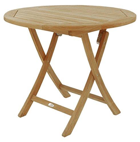 BEHO Natürlich gut in Holz ! Rundklapptisch 120x75 cm aus unbehandelten Teakholz, stabil, hochwertig langlebig Klapptisch