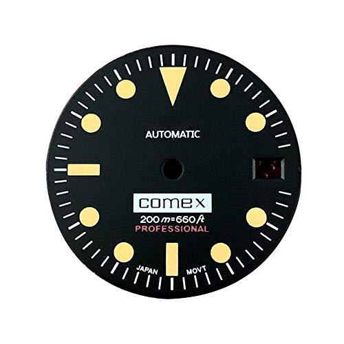 LICHIFIT Reloj vintage de 28,5 mm, esfera luminosa verde con calendario para NH35 reloj de reparación de movimiento