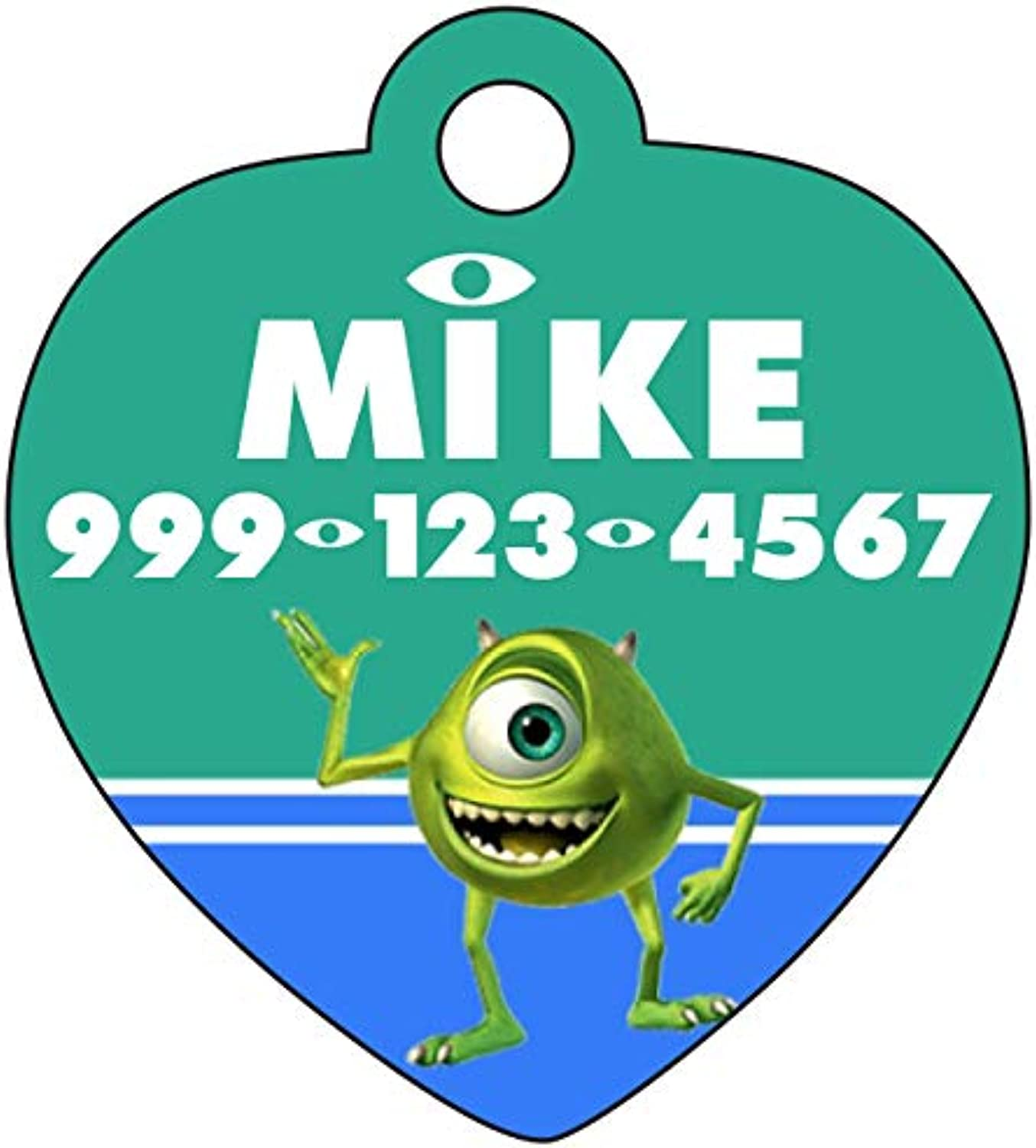 Disney Monsters Inc Mike Wazowski Pet Id Tag for Dogs & Cats Personalized w  Name & Number