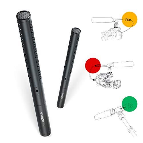 SYNCO Mic D1 Shotgun-Microphone-Direccional-Condensador-Mic, Microfono Transmisor Conector XLR Profesional para Cámara DSLR/Videocámaras/Boom Poles, con Tubo de Latón Filtro Paso Alto