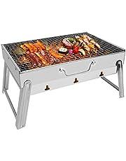E-More Grillgrill, bärbar hopfällbar kolgrill rostfritt stål skrivbord bordsskiva grill spis grillverktyg för utomhus trädgård camping resor vandring picknick, 43 x 29 x 24 cm
