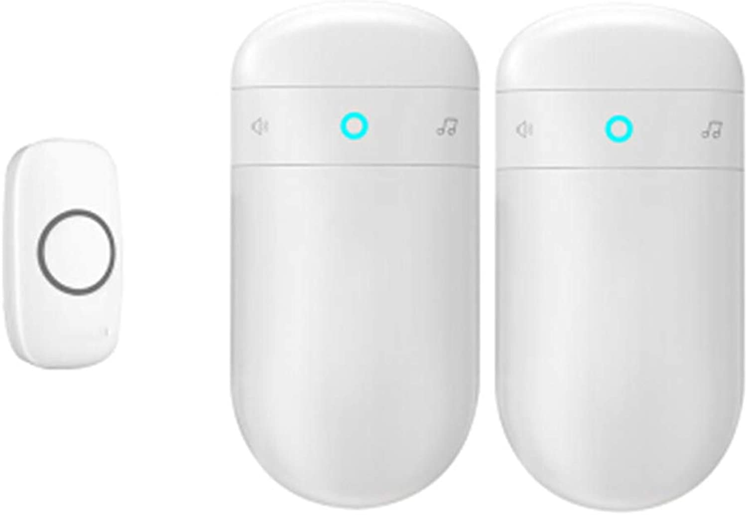 Home Wireless Doorbell, Plugin Receiver + Transmitter (Battery Required), ABS Material, Home Company,1Transmitter+2Receiver